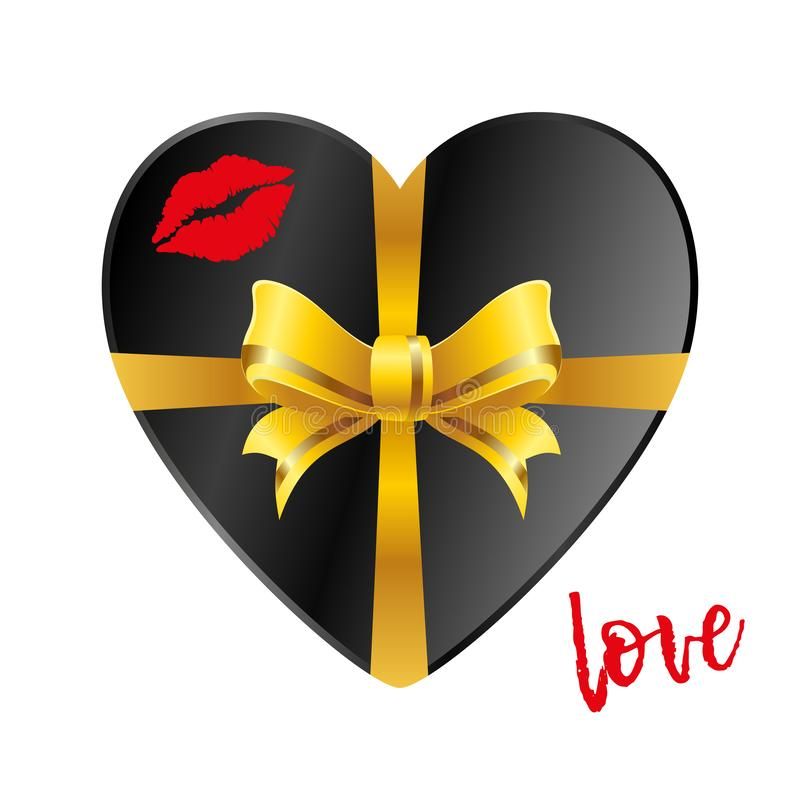 Black gift in the form of heart with gold ribbon on a white background and a trace of a kiss lips. Inscription Love. Vector stock illustration