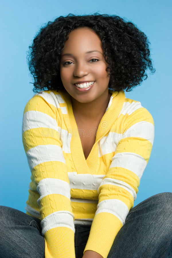 Black Girl. Happy winter black girl smiling royalty free stock images