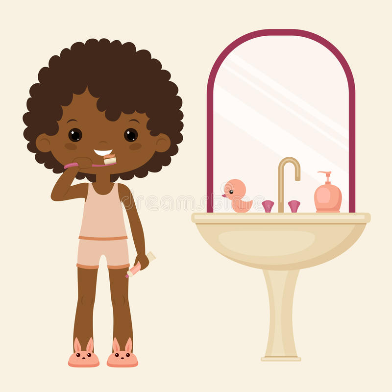 Black Girl Brushing Teeth Bathroom Vector Art Brush Cut For Woman