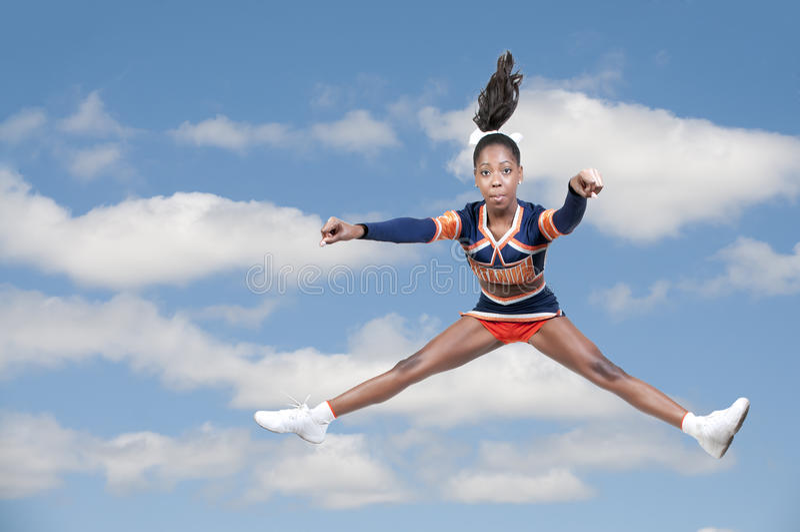 Black Girl Cheerleader royalty free stock photography