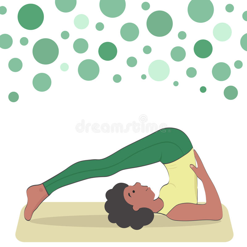 Black girl doing halasana. Inverted asana of medium difficulty vector illustration