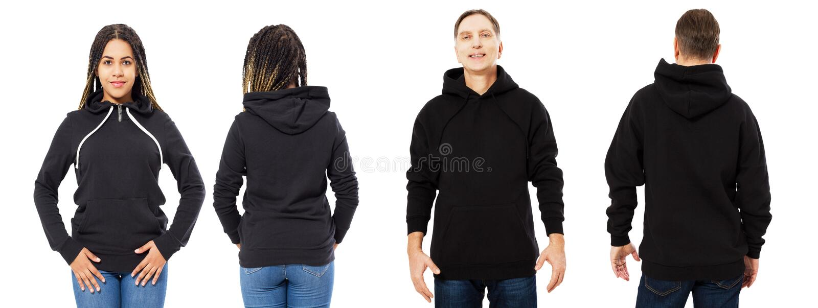 Black girl in hoodie mockup, man in empty hood front and back view isolated over white, hoodie set female and male royalty free stock images