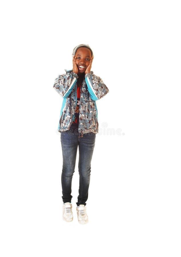Black girl in jacket. royalty free stock photos