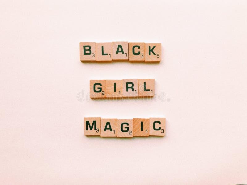 Black Girl Magic Text Decor stock photo
