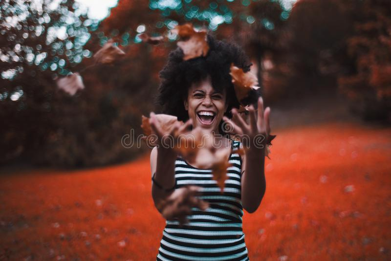 Black girl throwing up dry autumn leaves in a park. Curly laughing African-American girl in a striped dress is fooling and throwing up a heap of dry autumn royalty free stock photos