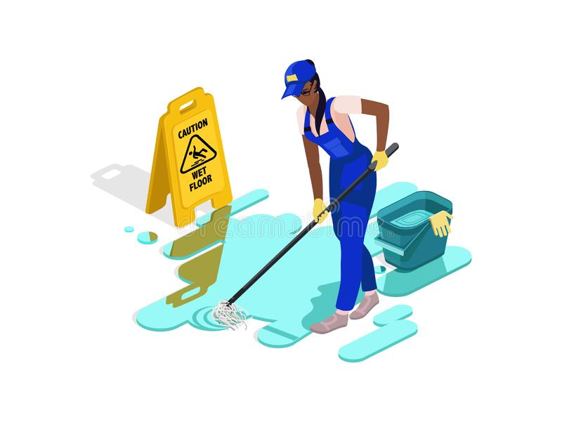 Black girl in work clothes washes the floor with water and equipment. Sign caution wet floor. stock illustration