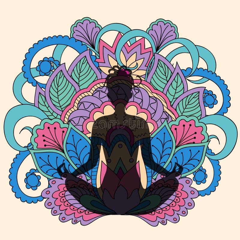 Black girl in yoga lotus background vector illustration