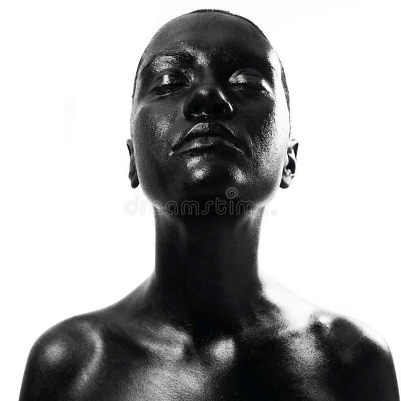 black gjorde upp kvinnan royaltyfri foto