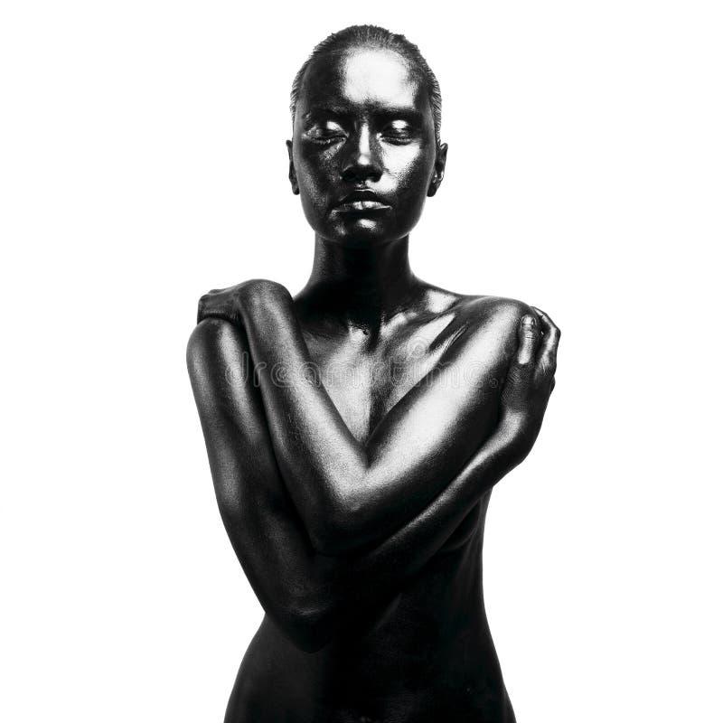 black gjorde upp kvinnan royaltyfria bilder