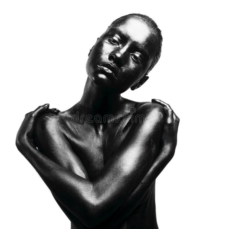 black gjorde upp kvinnan royaltyfria foton