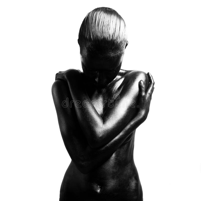 black gjorde upp kvinnan arkivfoto