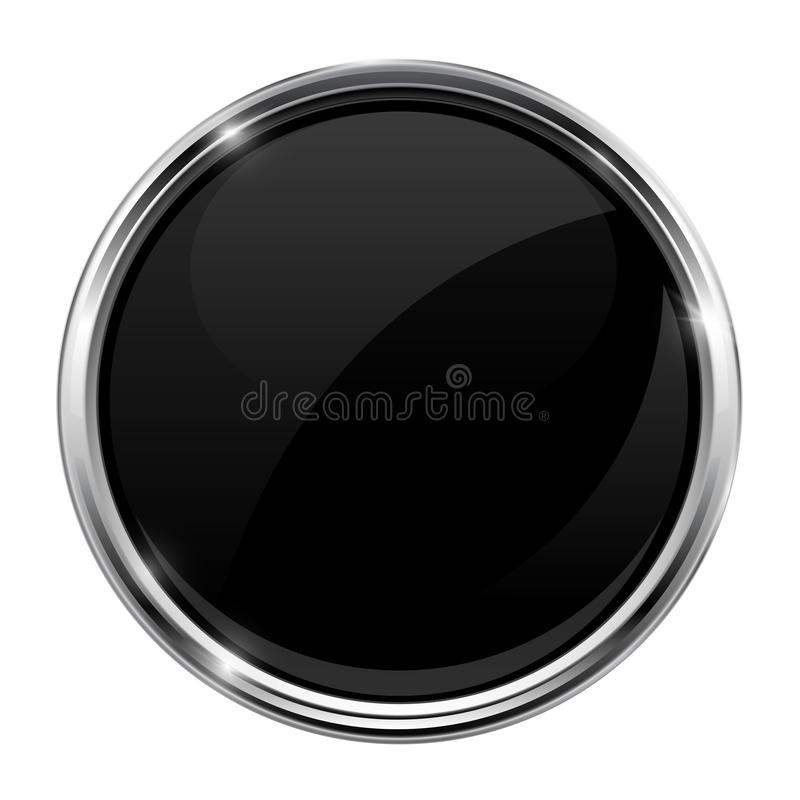 Free Black Glass Button. Round 3d Shiny Icon With Metal Frame Royalty Free Stock Photos - 133556638