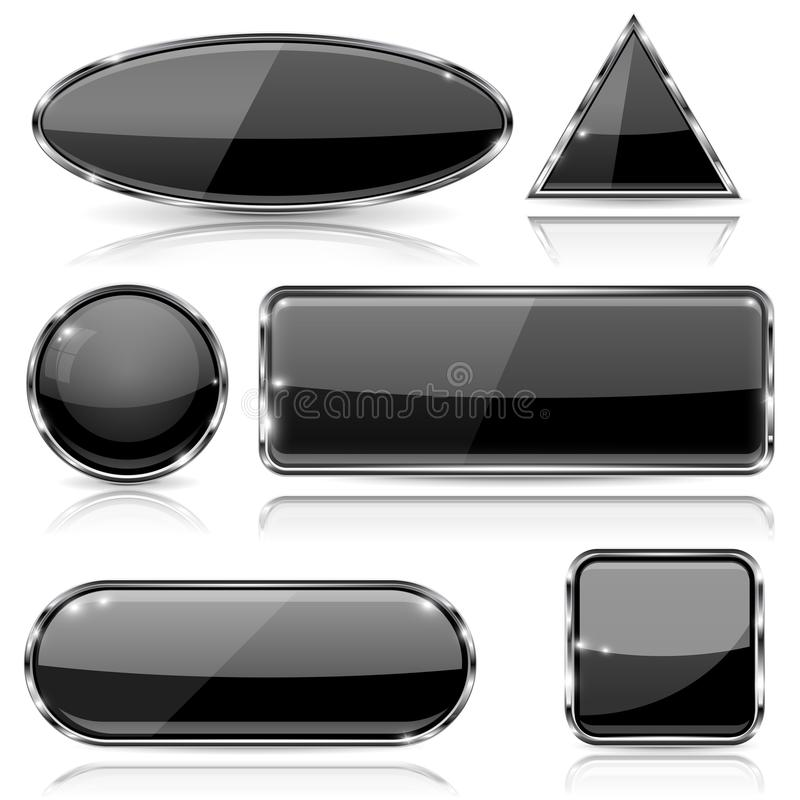 Black glass buttons with chrome frame. Geometric shaped 3d icons set. Vector ilustration isolated on white background vector illustration