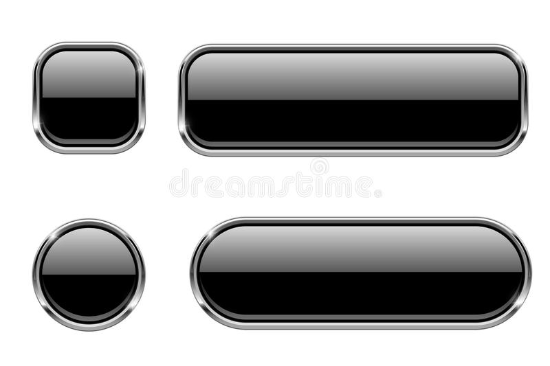 Black glass buttons with chrome frame. Shiny 3d web icons. Vector illustration isolated on white background royalty free illustration