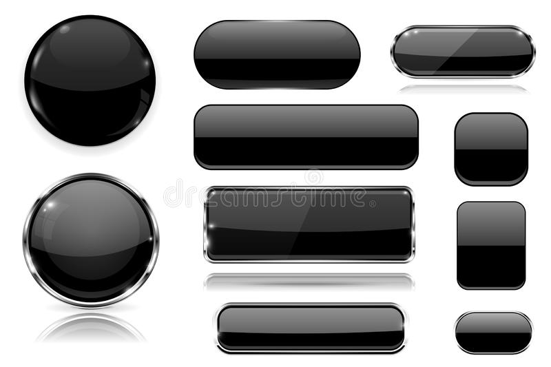 Black glass buttons. Collection of 3d icons. Vector illustration isolated on white background vector illustration