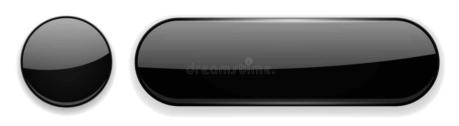 Black glass buttons. 3d icons. Vector illustration isolated on white background stock illustration