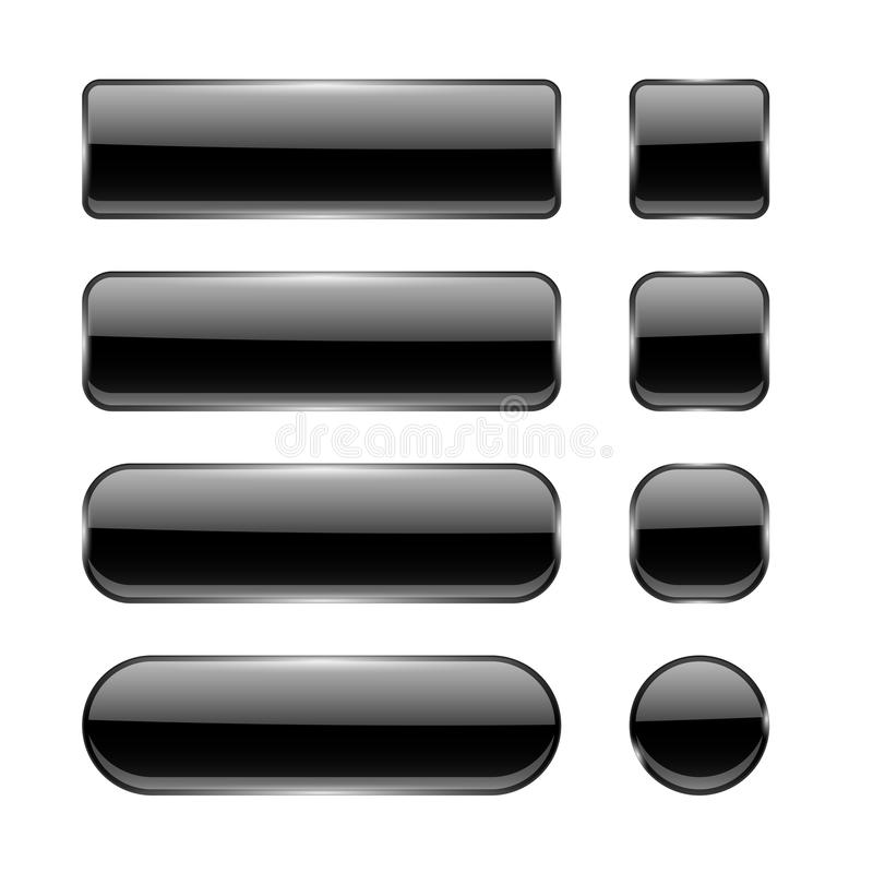 Black glass buttons. Menu interface elements. Set of 3d shiny icons. Vector illustration isolated on white background royalty free illustration