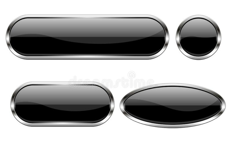 Black glass buttons. Set of 3d oval shiny icons with chrome frame. Vector illustration isolated on white background royalty free illustration