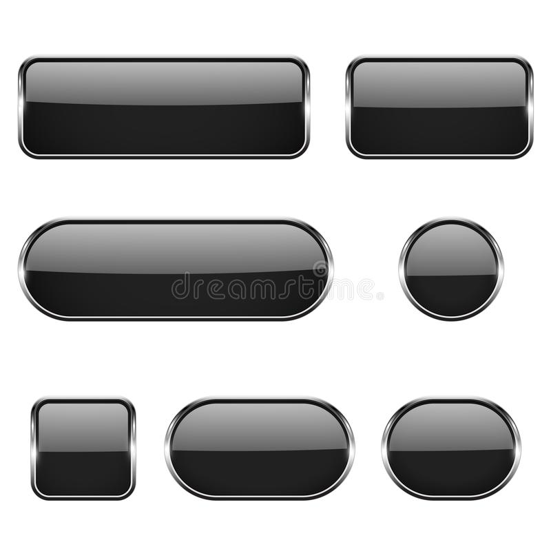Black glass oval, round, square buttons with chrome frame. 3d icons. Vector illustration isolated on white background stock illustration