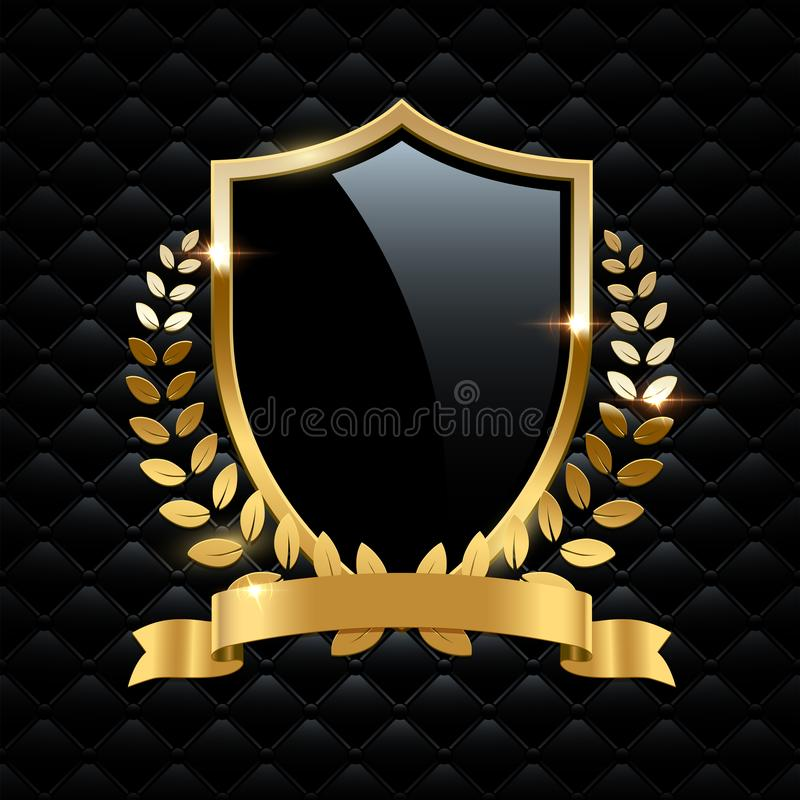 Free Black Glass Shield With Golden Frame, Golden Laurel Wreath And Golden Ribbon Isolated On Black Background. Vector Design Royalty Free Stock Photos - 129642418