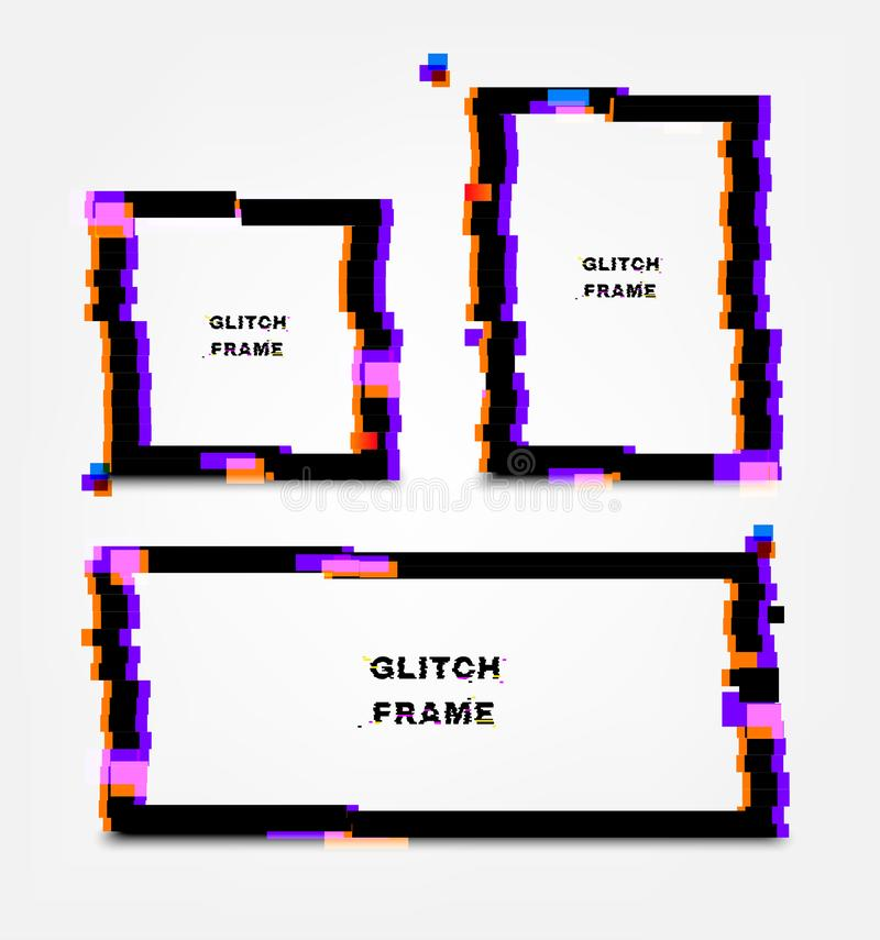 Black glitch frame. Distortion effects for advertising.  stock illustration