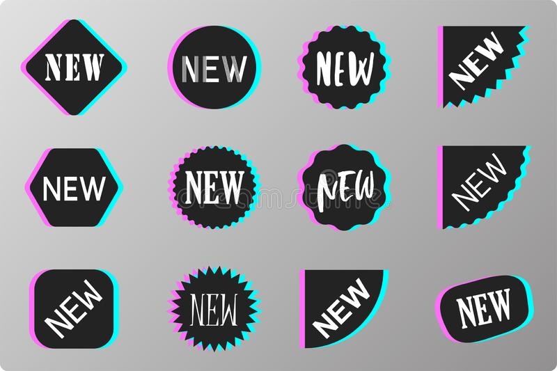 Black glitch NEW sale labels set. Black glitch NEW speech bubbles, sale labels set. Vector tag, promo badge, sticker new templates. Chat message icons, product stock illustration
