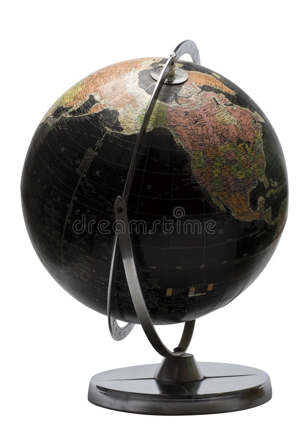 Black globe - North America. Terrestrial globe in black color showing the north american continent stock photos
