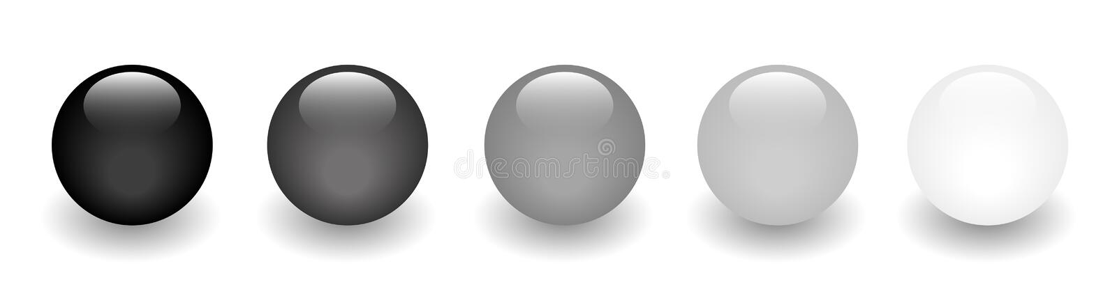 Black Glossy balls - Dark to light stock illustration