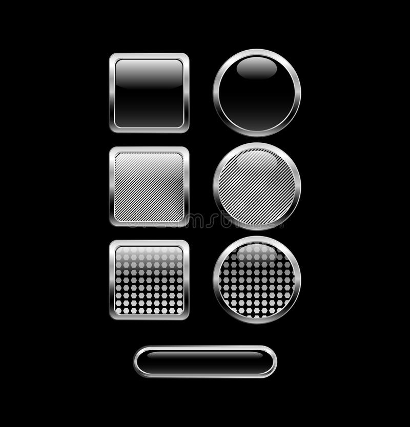 Black Glossy Buttons Stock Images