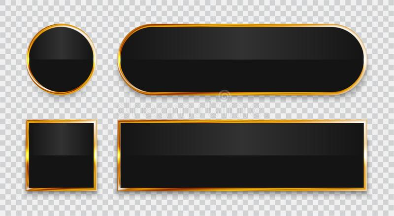 Black glossy buttons with gold elements set isolated on transparent background. royalty free illustration
