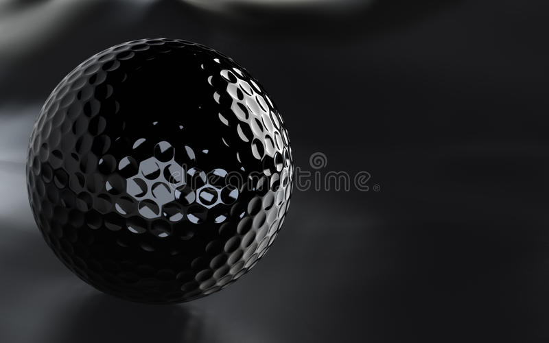 Black, glossy golf ball with alpha channel. Detailed 3D-render of a black, glossy golf ball over a dark grainy surface. JPEG includes alpha channel as path stock illustration