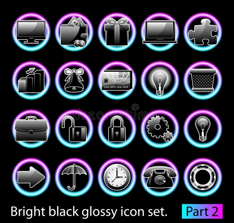 Free Black Glossy Icon Set 2 Stock Images - 17544184