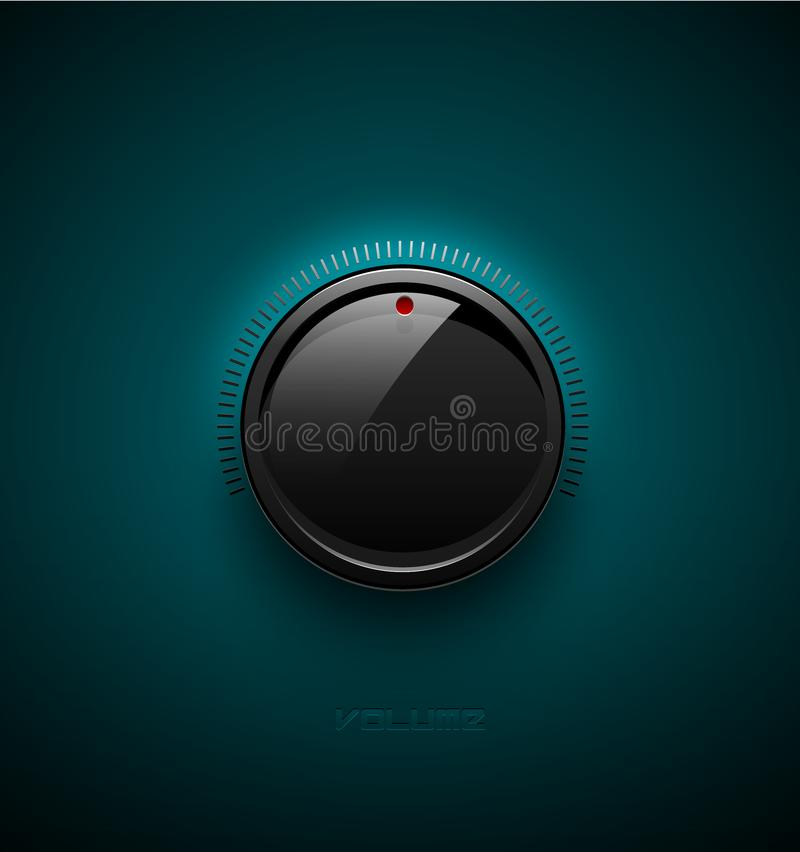 Black glossy interface button for volume control with reflect and shadow. Vector illustration. Sound icon, music knob with scale. On turquoise plastic royalty free illustration