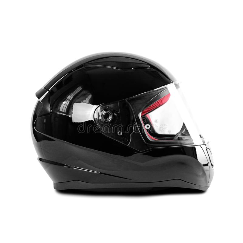 Black glossy motorcycle helmet. Close up. Isolated on white background.  royalty free stock photography