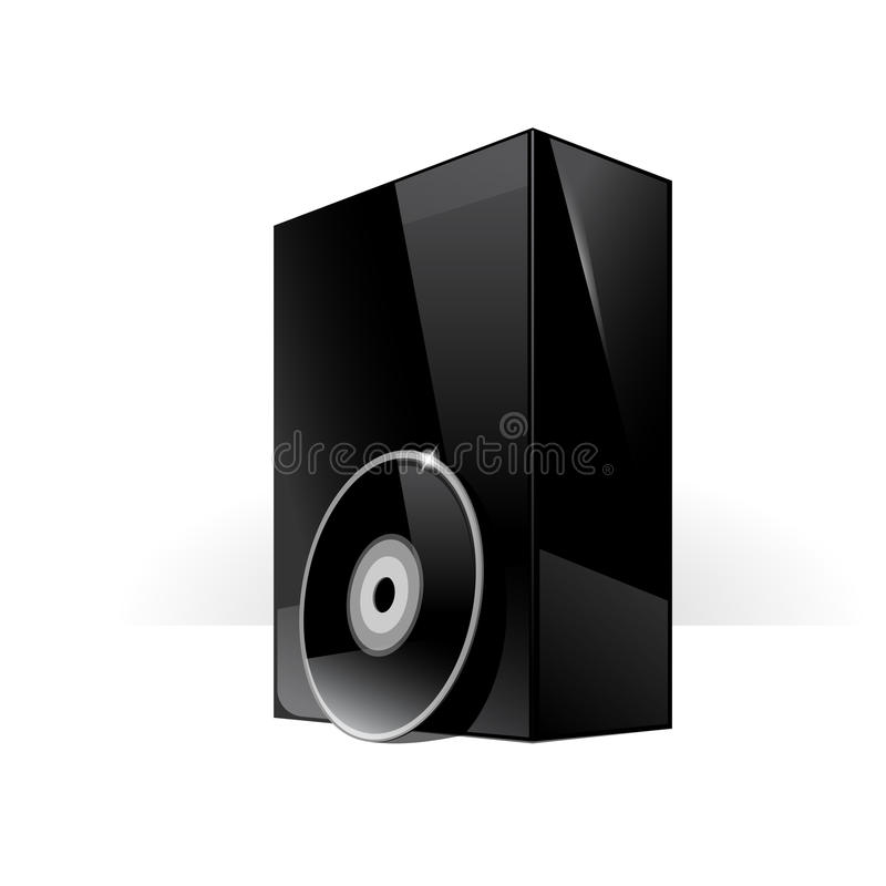 Black Glossy Package Box. With DVD Or CD Disk stock illustration