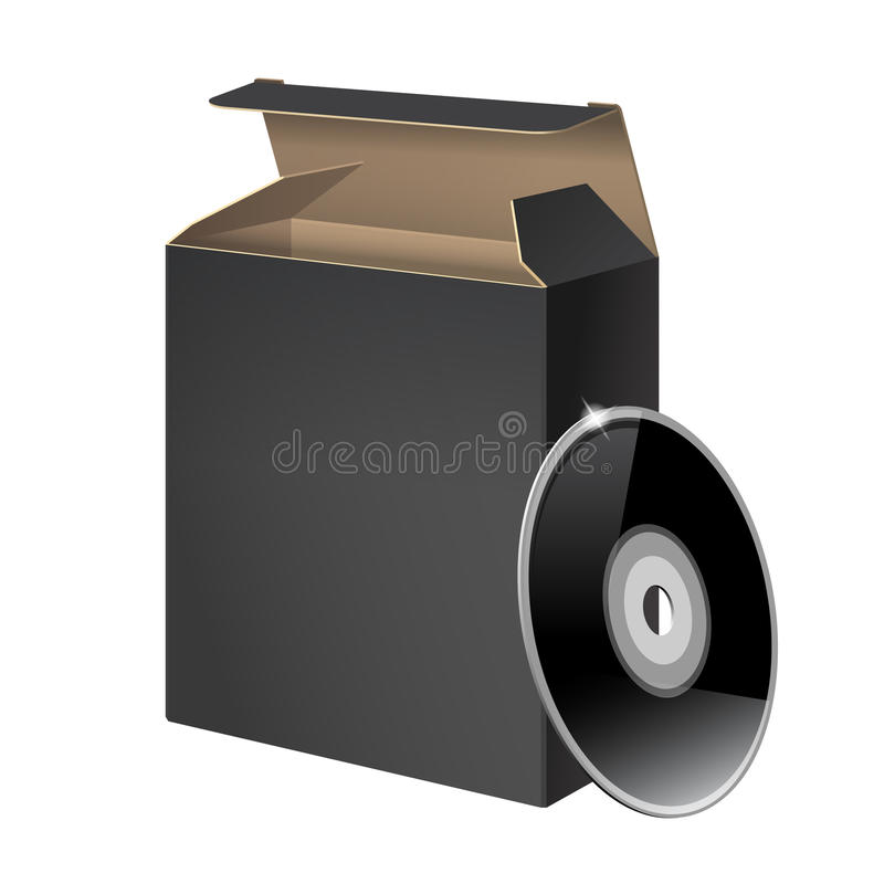 Black Glossy Package Box With DVD. Or CD Disk royalty free illustration