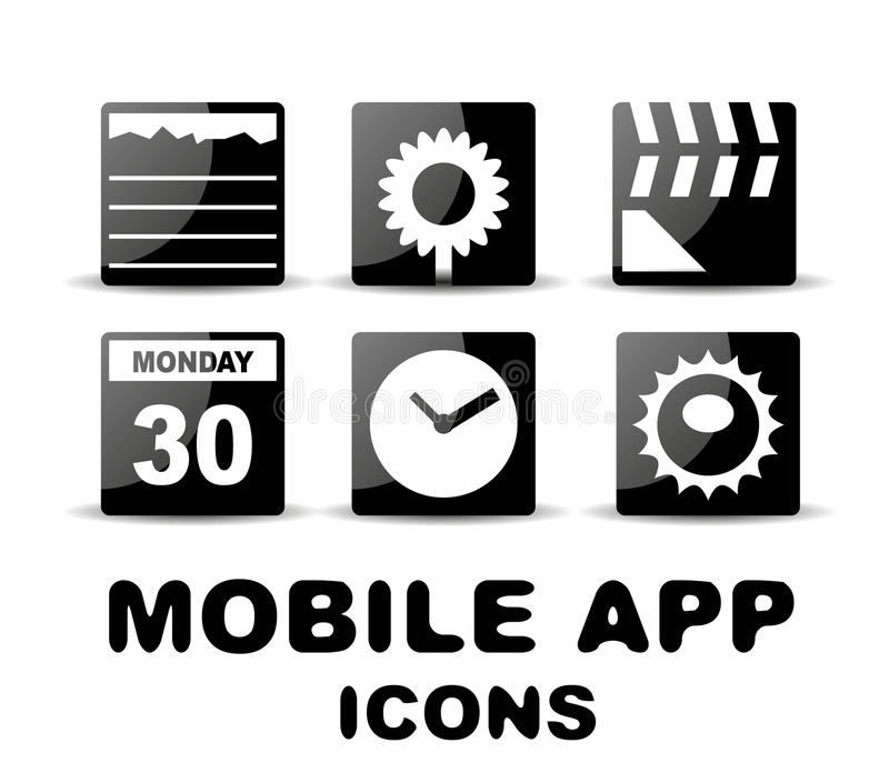 Black glossy square mobile app icons stock illustration