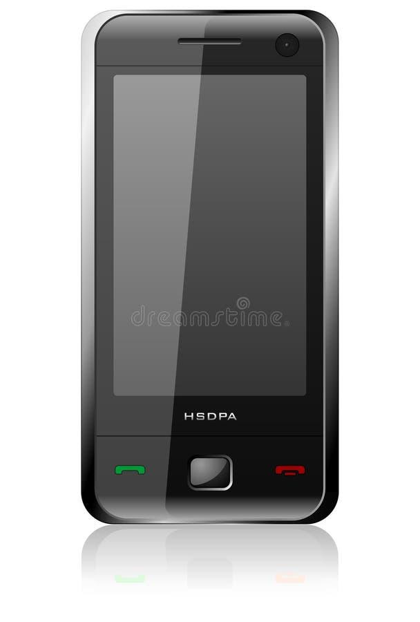 Black glossy stylish communicator. Detailed vector illustration of black glossy stylish communicator on white background with reflection effect stock illustration
