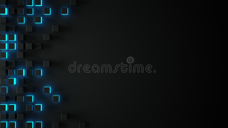 Black and glowing blue 3D boxes abstract background vector illustration