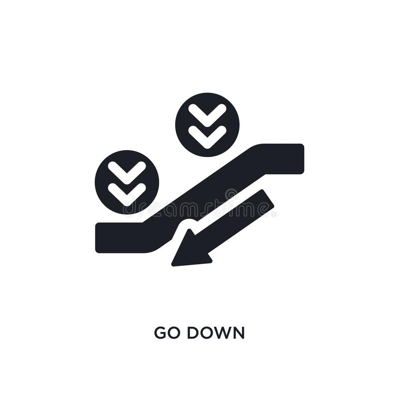 Black go down isolated vector icon. simple element illustration from accommodation concept vector icons. go down editable logo. Symbol design on white royalty free illustration