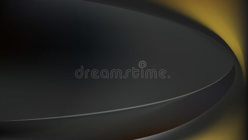 Black and Gold Abstract Curve Background Vector Image stock illustration