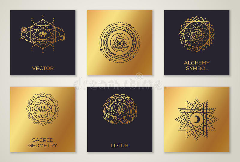 Black And Gold Alchemy Symbols Stock Vector Illustration Of