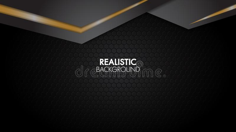 Black and gold background abstract realistic layered papercut mat geometric elegant futuristic glossy light with grid line vector illustration