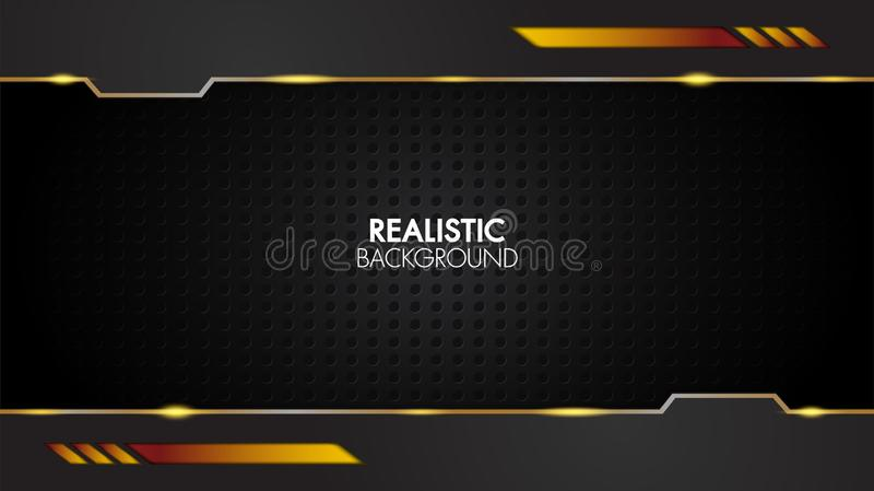 Black and gold background abstract realistic layered papercut mat geometric elegant futuristic glossy light with grid line.Modern vector illustration