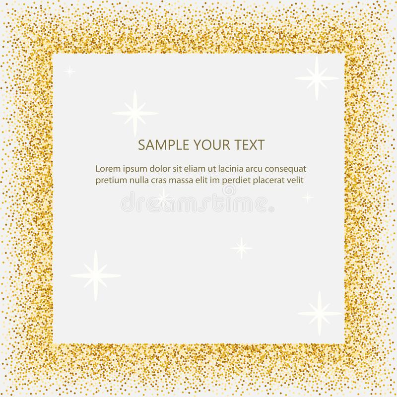 Black and gold background with circle frame and space for text. golden dust. Great for valentine, christmas and birthday stock illustration