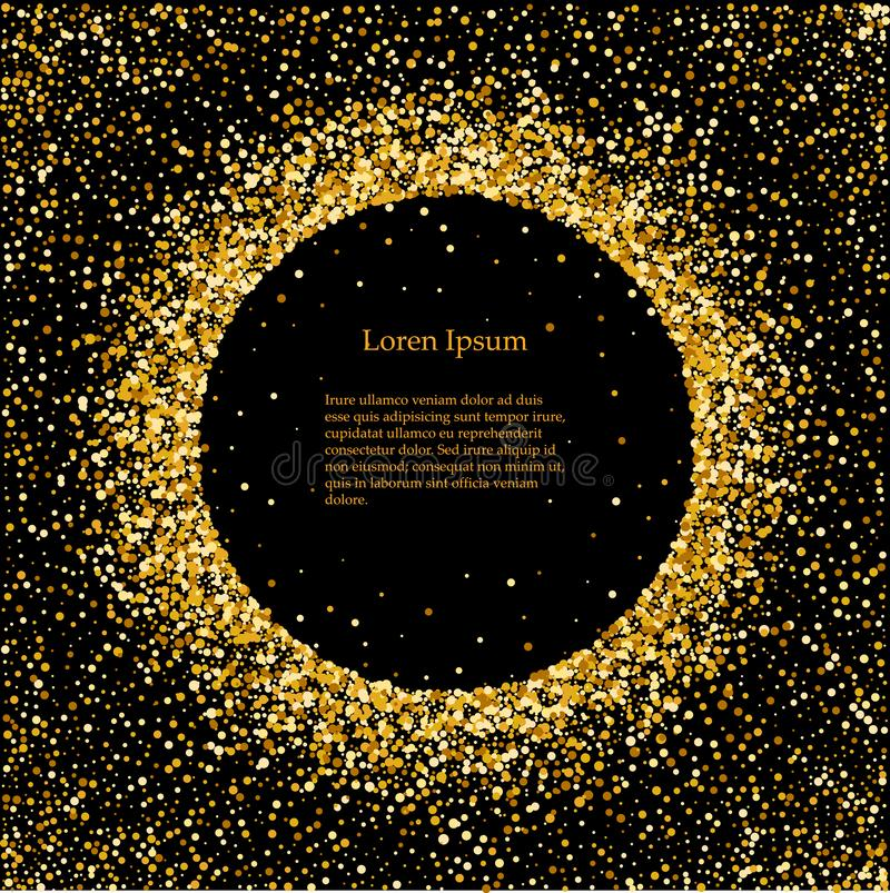 Black and gold background with circle frame and space for text. Vector glitter decoration, golden dust. Great for vector illustration