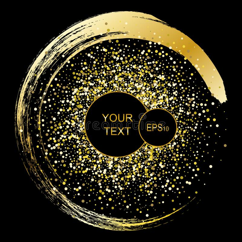 Black and gold background with circle frame and space for text. Vector glitter decoration, golden dust, party posters vector illustration