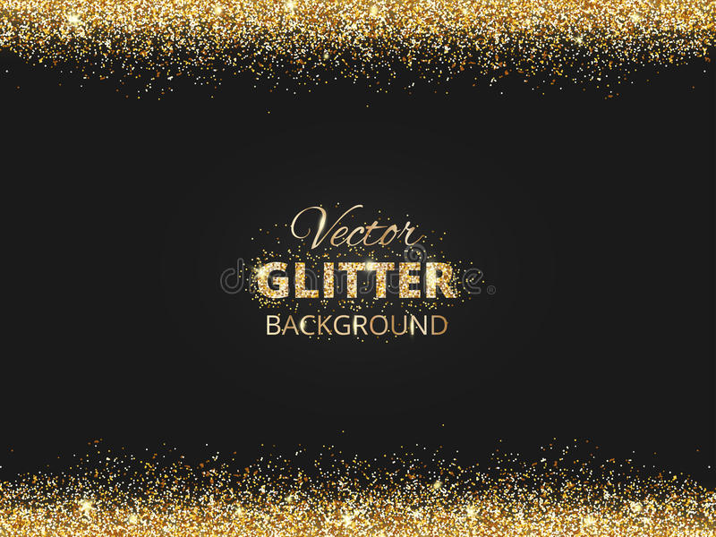 Black and gold background with glitter frame royalty free illustration