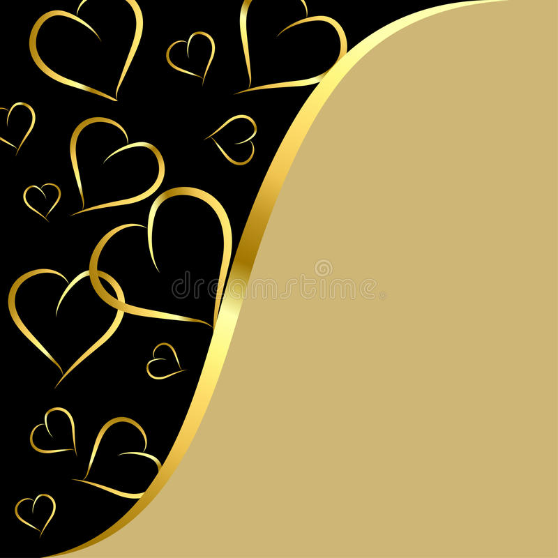 Black and gold background with hearts vector illustration