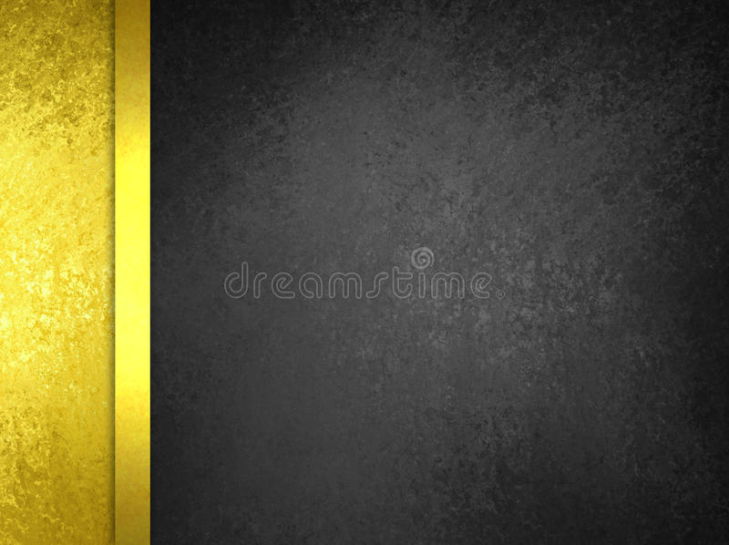 Black and gold background layout design with sidebar and gold ribbon border royalty free stock photo